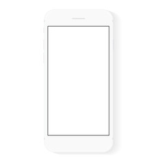 white flat phone white screen, vector drawing modern smart phone design