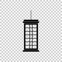 Japanese lantern. Icon. Black icon on transparent background.