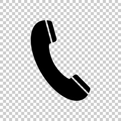 Telephone receiver icon. Black icon on transparent background.