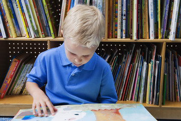 Little boy looking at picture book in school library