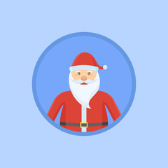 Santa Claus flat round icon on blue background. Christmas vector illustration.