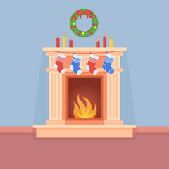 Christmas fireplace with socks, candles and wreath. Room interior with holiday decorations. Flat style vector illustration.