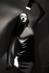 Woman introspection concept, monochrome