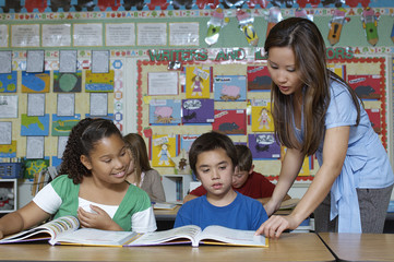 Teacher helping students in the classroom