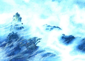Watercolor,pastel fantasy landscape. Peaks, clouds