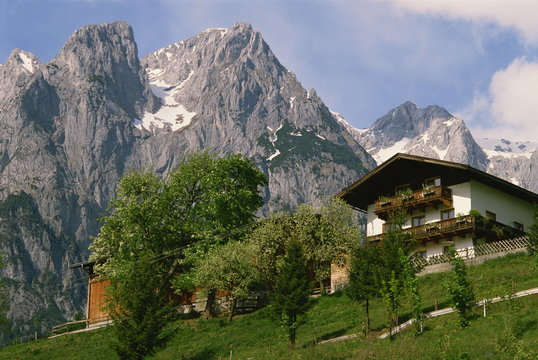 Typical chalet, with mountains behind, in the Werfern area of Austria