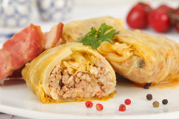 Stuffed cabbage rolls. Sauerkraut cabbage with rice, minced meat and smoked bacon or ham.