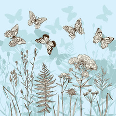 Template greeting card or invitation with plants and butterflies. Sketch. Freehand drawing