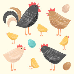 Set illustration with chickens and a rooster