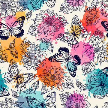 Pattern seamless pattern with butterflies and dahlias. Freehand drawing