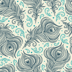 Seamless pattern with peacock feathers. Freehand drawing