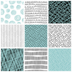 Set of 9 seamless patterns. Set with simple abstract backgrounds. Freehand drawing