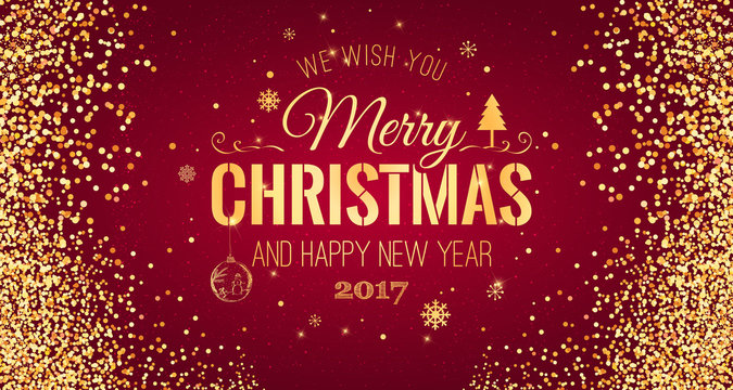 Christmas and New Year typographical on red background with Gold glitter texture. Vector illustration for golden shimmer background. Xmas card. Vector Illustration
