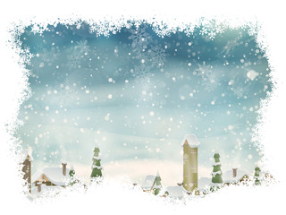 Christmas landscape with christmas tree. EPS 10