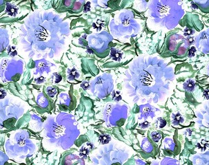 Raster seamless pattern with decorative flowers