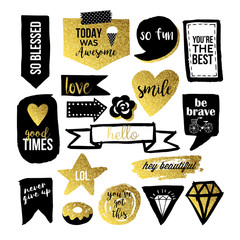 Stylish hand drawn stickers and labels in black and gold for gra