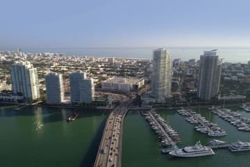Aerial image of buildings on West Avenue Miami Beach