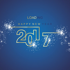 Happy New Year 2017 loading spark firework gold blue background