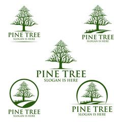 pine tree, oak, tree, leaf. logo design