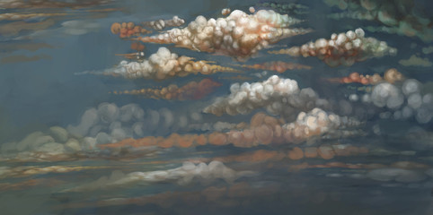 sky with clouds digital illustration