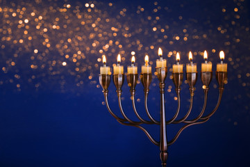 Low key Image of jewish holiday Hanukkah