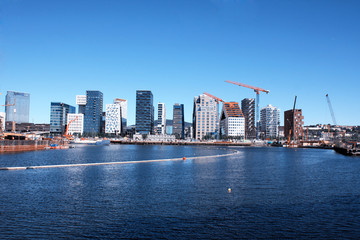 View on modern district with lux apartments and restaurants in Oslo, Norway