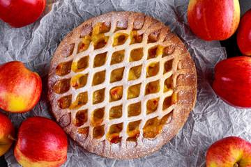 Home baked Lattice apple pie on black background