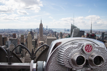 Coin-operated telescope at the Top of the Rock in New York City