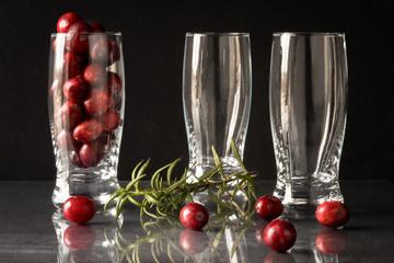 Cranberries, Rosemary, and Dessert & Beverage Glasses