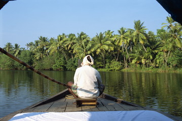 Canals and rivers used as roadways, ferry on Backwaters, Kerala state, India, Asia