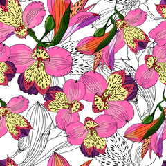 Seamless floral pattern. Orchids/lilies