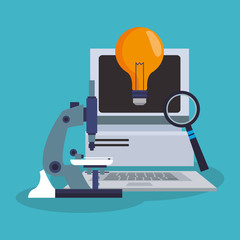 Computer and bulb icon. laboratory science chemistry and research theme. Colorful design. Vector illustration