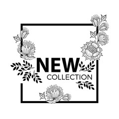 New collection. Fashion graphic design. Square black floral frame. Monochrome floral poster.