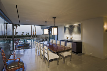 View of a modern and spacious dining room at home