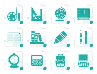 Stylized School and education icons - vector icon set
