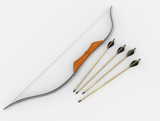Bow and arrow. 3D rendering.