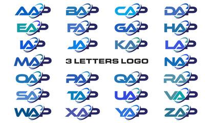 3 letters modern generic swoosh logo AAP, BAP, CAP, DAP, EAP, FAP, GAP, HAP, IAP, JAP, KAP, LAP, MAP, NAP, OAP, PAP, QAP, RAP, SAP, TAP, UAP, VAP, WAP, XAP, YAP, ZAP