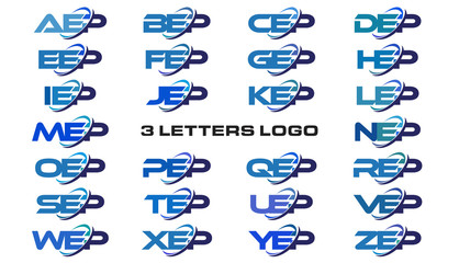 3 letters modern generic swoosh logo AEP, BEP, CEP, DEP, EEP, FEP, GEP, HEP, IEP, JEP, KEP, LEP, MEP, NEP, OEP, PEP, QEP, REP, SEP, TEP, UEP, VEP, WEP, XEP, YEP, ZEP