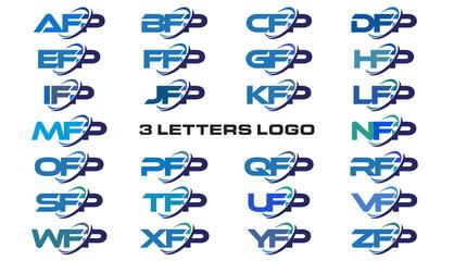 3 letters modern generic swoosh logo AFP, BFP, CFP, DFP, EFP, FFP, GFP, HFP, IFP, JFP, KFP, LFP, MFP, NFP, OFP, PFP, QFP, RFP, SFP, TFP, UFP, VFP, WFP, XFP, YFP, ZFP