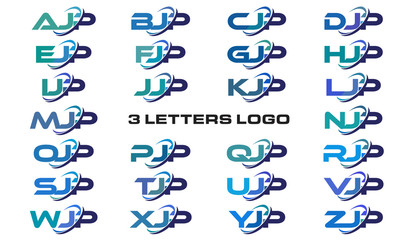3 letters modern generic swoosh logo AJP, BJP, CJP, DJP, EJP, FJP, GJP, HJP, IJP, JJP, KJP, LJP, MJP, NJP, OJP, PJP, QJP, RJP, SJP, TJP, UJP, VJP, WJP, XJP, YJP, ZJP