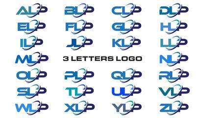 3 letters modern generic swoosh logo ALP, BLP, CLP, DLP, ELP, FLP, GLP, HLP, ILP, JLP, KLP, LLP, MLP, NLP, OLP, PLP, QLP, RLP, SLP, TLP, ULP, VLP, WLP, XLP, YLP, ZLP