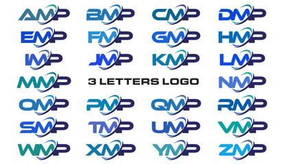 3 letters modern generic swoosh logo AMP, BMP, CMP, DMP, EMP, FMP, GMP, HMP, IMP, JMP, KMP, LMP, MMP, NMP, OMP, PMP, QMP, RMP, SMP, TMP, UMP, VMP, WMP, XMP, YMP, ZMP