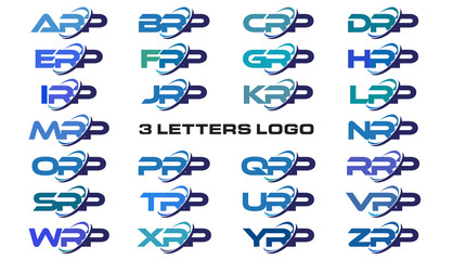 3 letters modern generic swoosh logo ARP, BRP, CRP, DRP, ERP, FRP, GRP, HRP, IRP, JRP, KRP, LRP, MRP, NRP, ORP, PRP, QRP, RRP, SRP, TRP, URP, VRP, WRP, XRP, YRP, ZRP