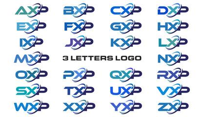 3 letters modern generic swoosh logo AXP, BXP, CXP, DXP, EXP, FXP, GXP, HXP, IXP, JXP, KXP, LXP, MXP, NXP, OXP, PXP, QXP, RXP, SXP, TXP, UXP, VXP, WXP, XXP, YXP, ZXP