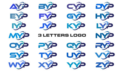 3 letters modern generic swoosh logo AYP, BYP, CYP, DYP, EYP, FYP, GYP, HYP, IYP, JYP, KYP, LYP, MYP, NYP, OYP, PYP, QYP, RYP, SYP, TYP, UYP, VYP, WYP, XYP, YYP, ZYP