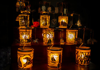 Carved beautiful candle holders with different images
