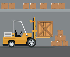 truck forklift warehouse machine work cardborad boxes vector illustration eps 10