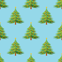 Seamless pattern with decorated Christmas tree on blue background. Vector texture.