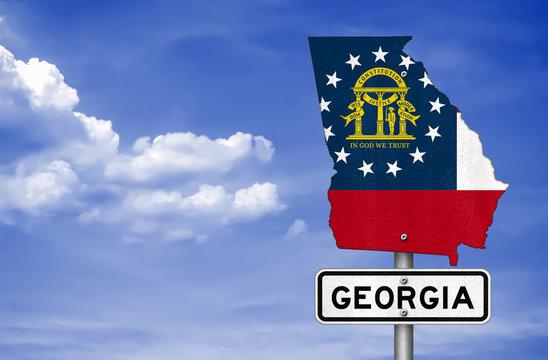 Georgia state - road sign map