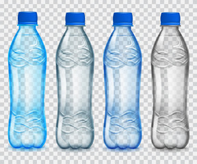 Set of transparent plastic bottles with mineral water. Transparency only in vector file